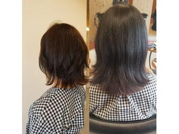 髪の量を減らしてスッキリしたビフォーアフターの写真